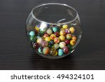 Of Glass Vase With Glass Beads