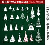 christmas tree set. new year...   Shutterstock .eps vector #494325151
