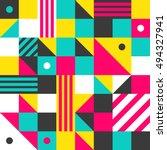 trendy geometric memphis style... | Shutterstock .eps vector #494327941