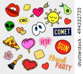 fashion patch badges. big set.... | Shutterstock .eps vector #494332735