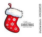 sketch style christmas boot... | Shutterstock .eps vector #494338555