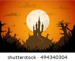 colored vector halloween...   Shutterstock .eps vector #494340304