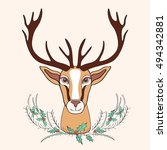 holiday deer graphic hand drawn ... | Shutterstock .eps vector #494342881