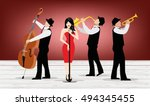 jazz band with singer ... | Shutterstock .eps vector #494345455