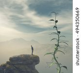 man standing on the edge of a... | Shutterstock . vector #494350669