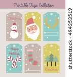 merry christmas set of greeting ... | Shutterstock .eps vector #494353519