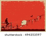 american cowboy sitting on...   Shutterstock .eps vector #494353597
