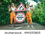 Two Sexy Women Workers In...