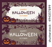 halloween banners set raster  | Shutterstock . vector #494357899
