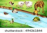many wildlife living by the... | Shutterstock .eps vector #494361844