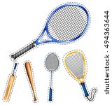 sticker set of sport equipments ... | Shutterstock .eps vector #494363644