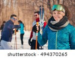 group of friends skiing in the... | Shutterstock . vector #494370265