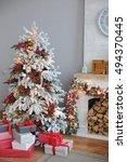 christmas tree in room  xmas...   Shutterstock . vector #494370445