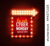 cyber monday sale retro light... | Shutterstock .eps vector #494371105