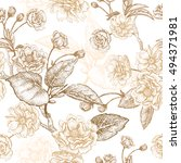 gold embroidery on a white... | Shutterstock .eps vector #494371981