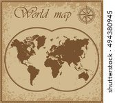vector old map of the world in... | Shutterstock .eps vector #494380945