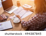 business woman writing with pen ... | Shutterstock . vector #494387845