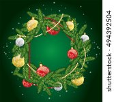 christmas wreath with balls.... | Shutterstock .eps vector #494392504