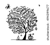halloween tree for your design | Shutterstock .eps vector #494399677