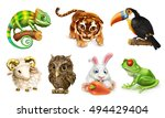 Stock vector funny animal set cartoon character d vector icon 494429404