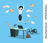happy business woman excited... | Shutterstock .eps vector #494434561