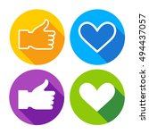 colorful icon set heart shape... | Shutterstock .eps vector #494437057