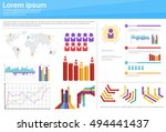 graph set finance diagram... | Shutterstock .eps vector #494441437