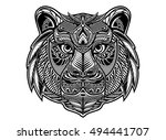 zentangle tiger  free hand art... | Shutterstock .eps vector #494441707