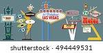 classic american signboards set ... | Shutterstock .eps vector #494449531