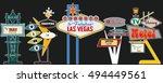 classic american signboards set ... | Shutterstock .eps vector #494449561