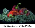 paprika and kale on black... | Shutterstock . vector #494450374