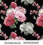 yellow peonies roses and lilly... | Shutterstock . vector #494455405