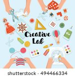 creative kids lab  top view... | Shutterstock .eps vector #494466334