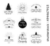 hand drawn christmas and new... | Shutterstock .eps vector #494467915