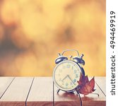 vintage alarm clock on yellow... | Shutterstock . vector #494469919