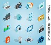 isometric media set icons....