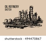 oil refinery sketch illustraton | Shutterstock .eps vector #494470867