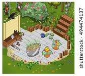 blooming garden with terrace... | Shutterstock .eps vector #494474137