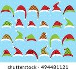 vector set of cute santa claus... | Shutterstock .eps vector #494481121