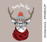 christmas card with deer in... | Shutterstock .eps vector #494482129