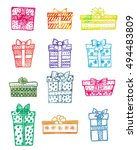 set of doodle hand drawn gift... | Shutterstock .eps vector #494483809