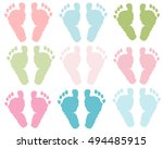 Baby Foot Print Pastel Colored...