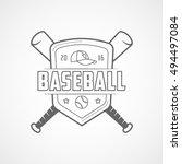 baseball emblem line icon on... | Shutterstock .eps vector #494497084