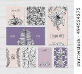 set of tropical wedding cards.... | Shutterstock .eps vector #494524375
