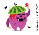 halloween monster cartoon... | Shutterstock . vector #494528809