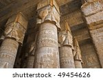 """The ancient columns of the temple """"Dendera"""" in Egypt - stock photo"""
