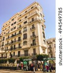 Small photo of ALGIERS, ALGERIA - SEP 24, 2016: French colonial buildings at Algiers city center in Algiers, Algeria.Buildings are being renovated by Algerian government time by time.