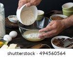 chef mixes food ingredients for ... | Shutterstock . vector #494560564