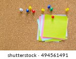 paper note on cork board. cork...   Shutterstock . vector #494561491
