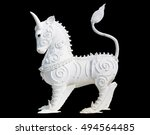 White Deer Statue Isolated On...